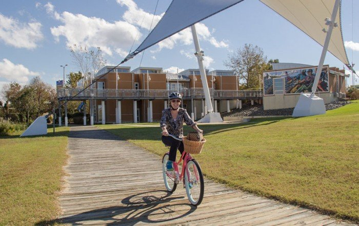 Rent bikes at Dorchester Visitor Center in Cambridge, MD