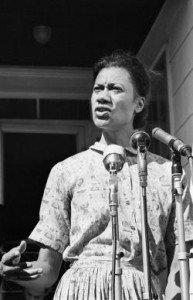 Gloria Richardson Dandridge speaking to a crowd and media circa 1963