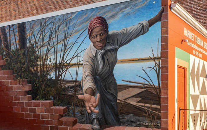 Harriet Tubman Mural by Michael Rosato in Cambridge, MD