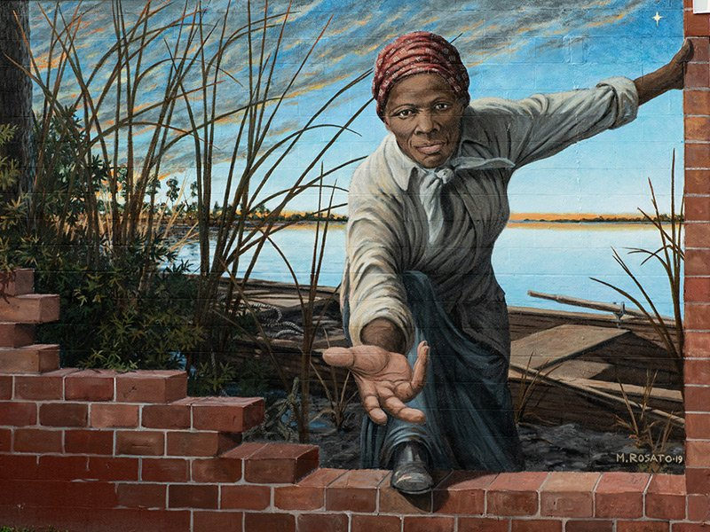 Harriet Tubman Mural by Michael Rosato in Cambridge, Maryland