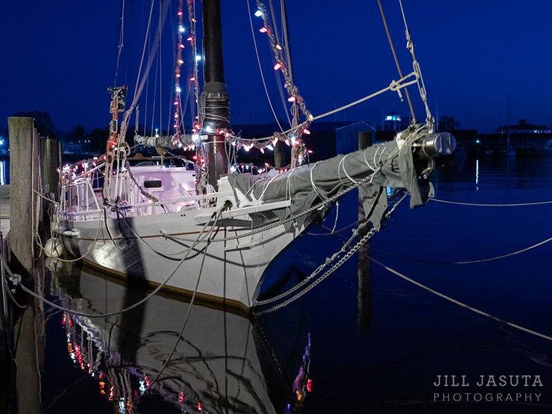 Skipjack Nathan with Christmas lights in Cambridge, MD