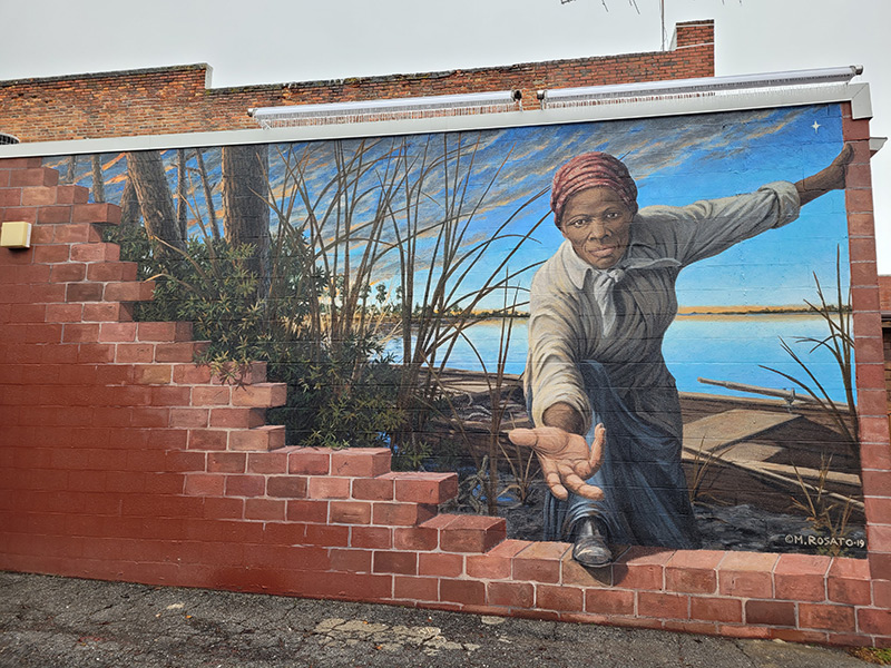 Harriet Tubman Mural by Michael Rosato, Cambridge, MD on side of museum building