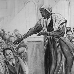 Harriet Tubman giving speech; drawing from 1940