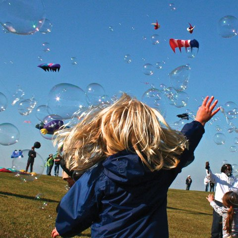 The back of a small blond child raising hand toward sky surrounded by people flying kites and blowing bubbles at a Dorchester Md event