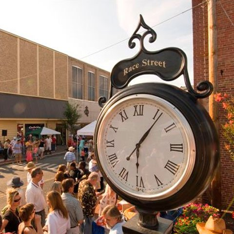 Race Street clock view of local event